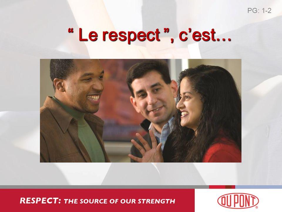 Le respect, cest… Le respect, cest… PG: 1-2