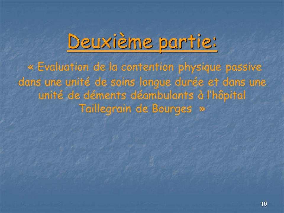 10 Deuxième partie: Deuxième partie: « Evaluation de la contention physique passive dans une unité de soins longue durée et dans une unité de déments