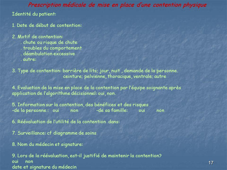 17 Prescription médicale de mise en place dune contention physique Identité du patient: 1. Date de début de contention: 2. Motif de contention:. chute