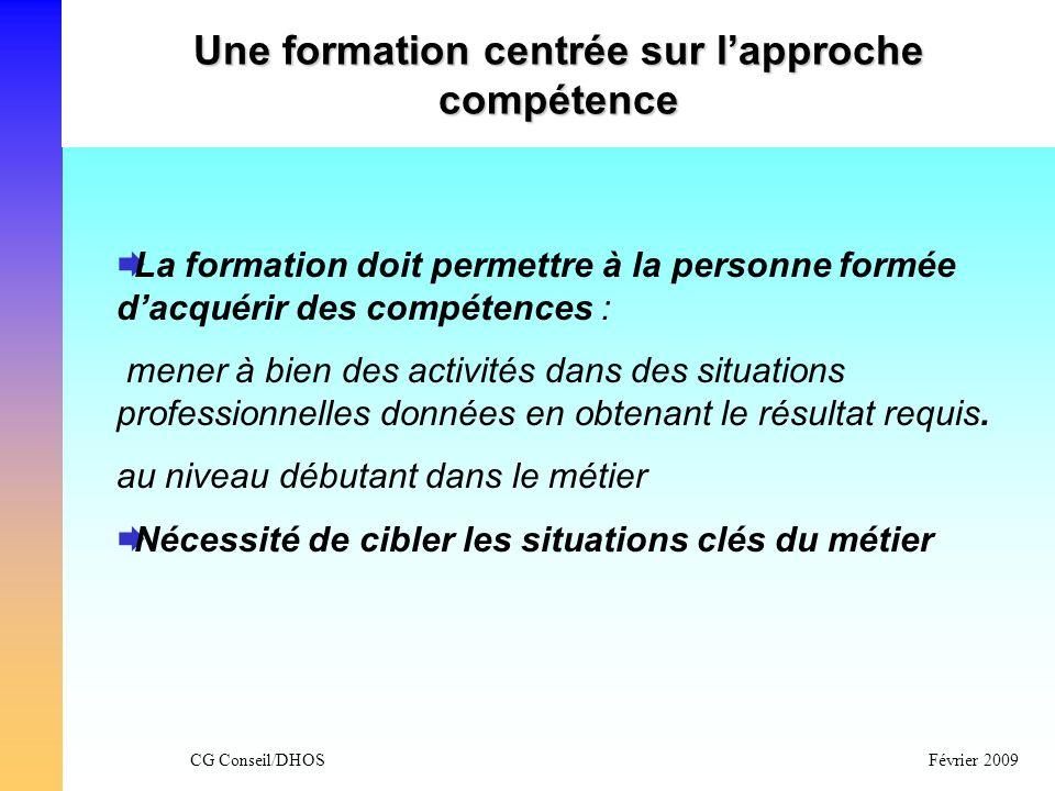 CG Conseil/DHOSFévrier 2009 Une formation centrée sur lapproche compétence La formation doit permettre à la personne formée dacquérir des compétences
