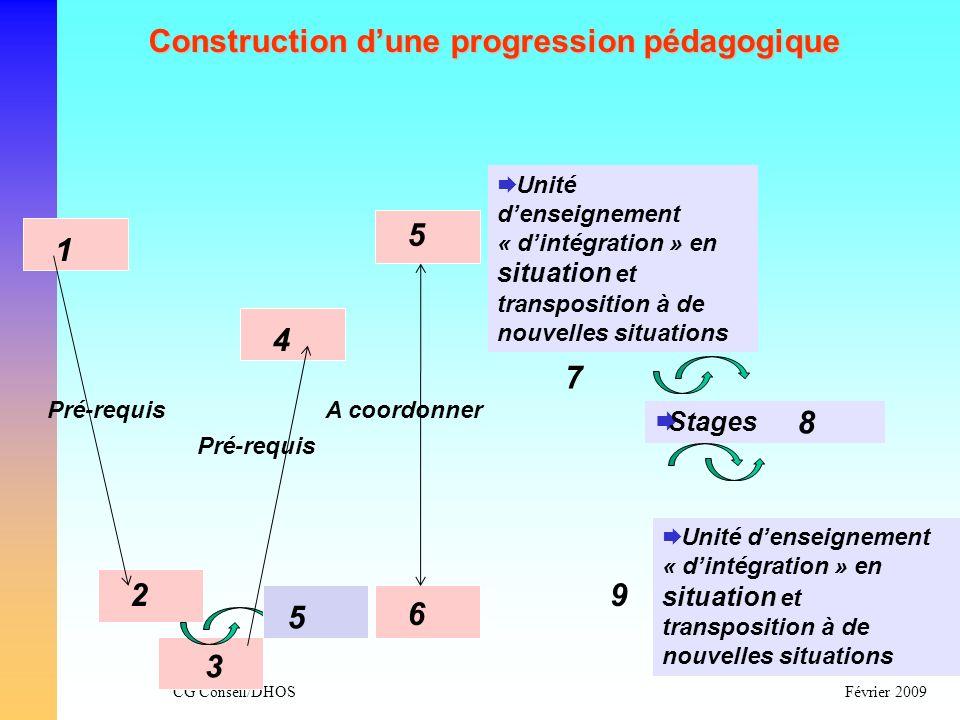 CG Conseil/DHOSFévrier 2009 Construction dune progression pédagogique Unité denseignement « dintégration » en situation et transposition à de nouvelle