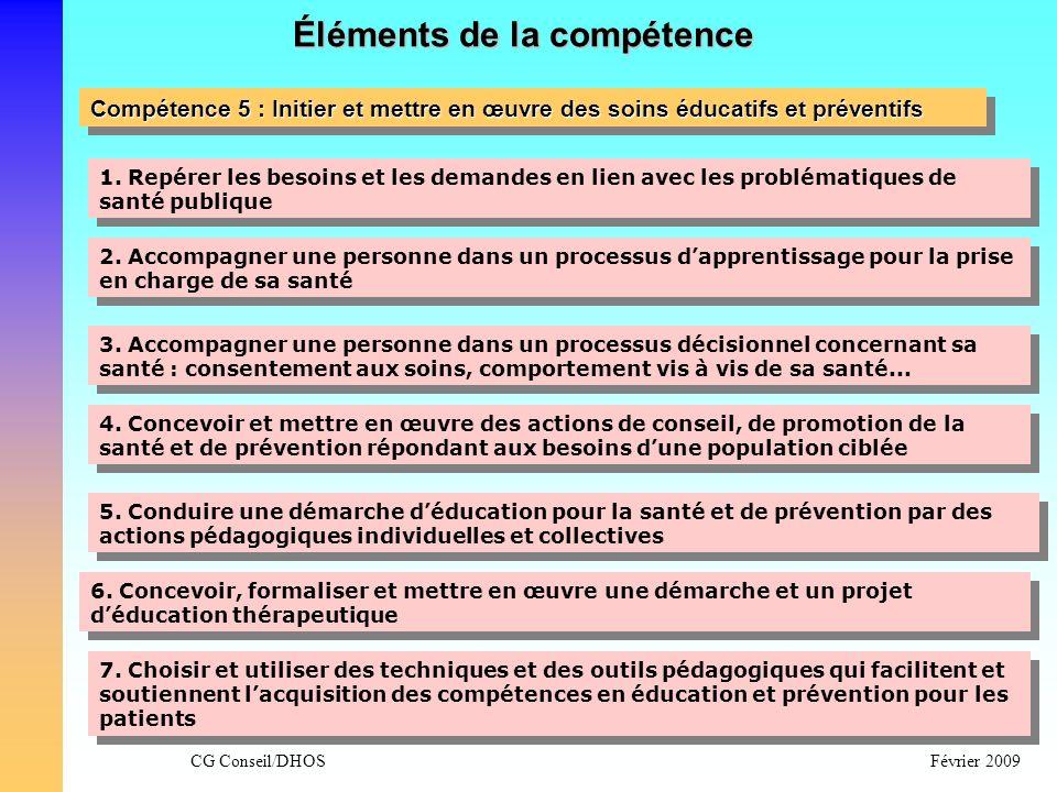 CG Conseil/DHOSFévrier 2009 Éléments de la compétence Compétence 5 : Initier et mettre en œuvre des soins éducatifs et préventifs 1. Repérer les besoi