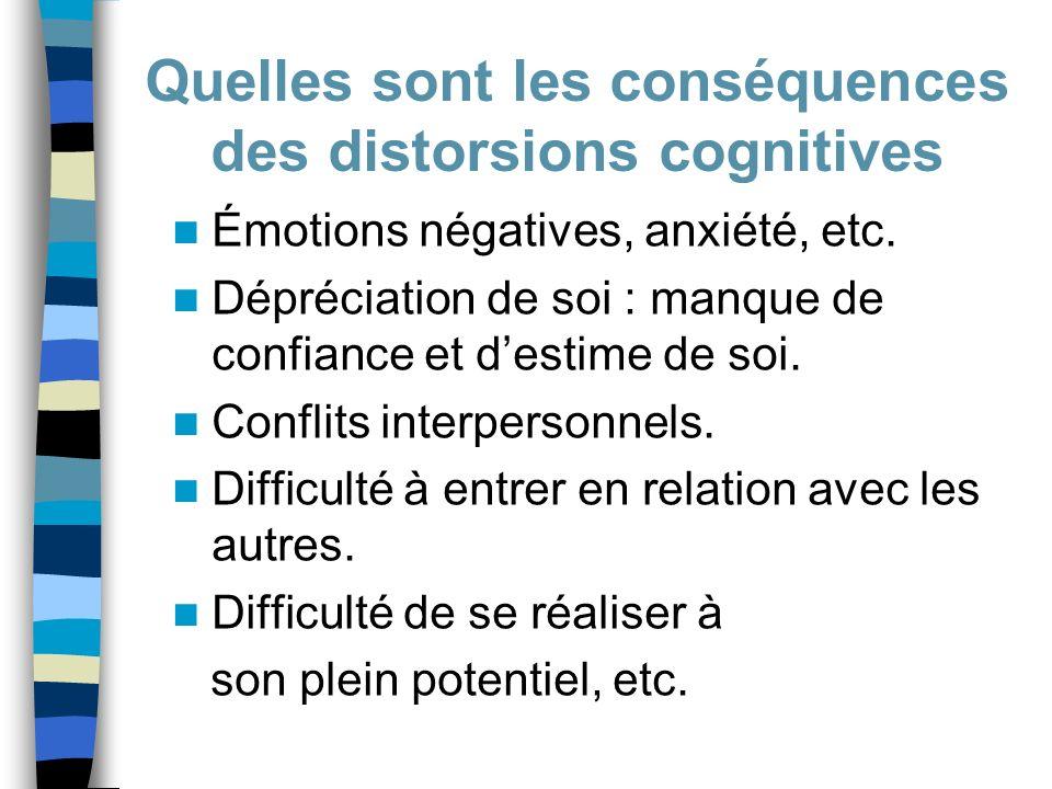 Émotions négatives, anxiété, etc. Dépréciation de soi : manque de confiance et destime de soi. Conflits interpersonnels. Difficulté à entrer en relati