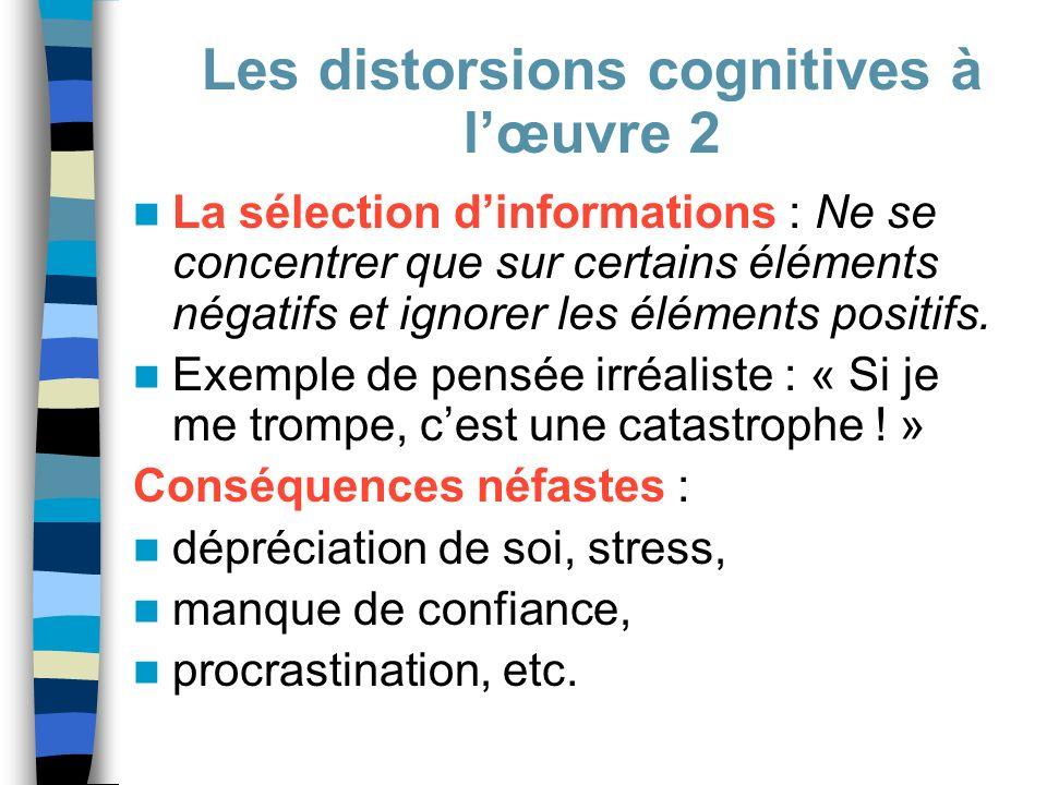 La sélection dinformations : Ne se concentrer que sur certains éléments négatifs et ignorer les éléments positifs. Exemple de pensée irréaliste : « Si