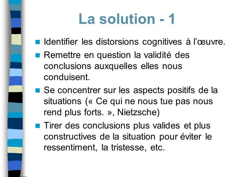 Identifier les distorsions cognitives à lœuvre. Remettre en question la validité des conclusions auxquelles elles nous conduisent. Se concentrer sur l