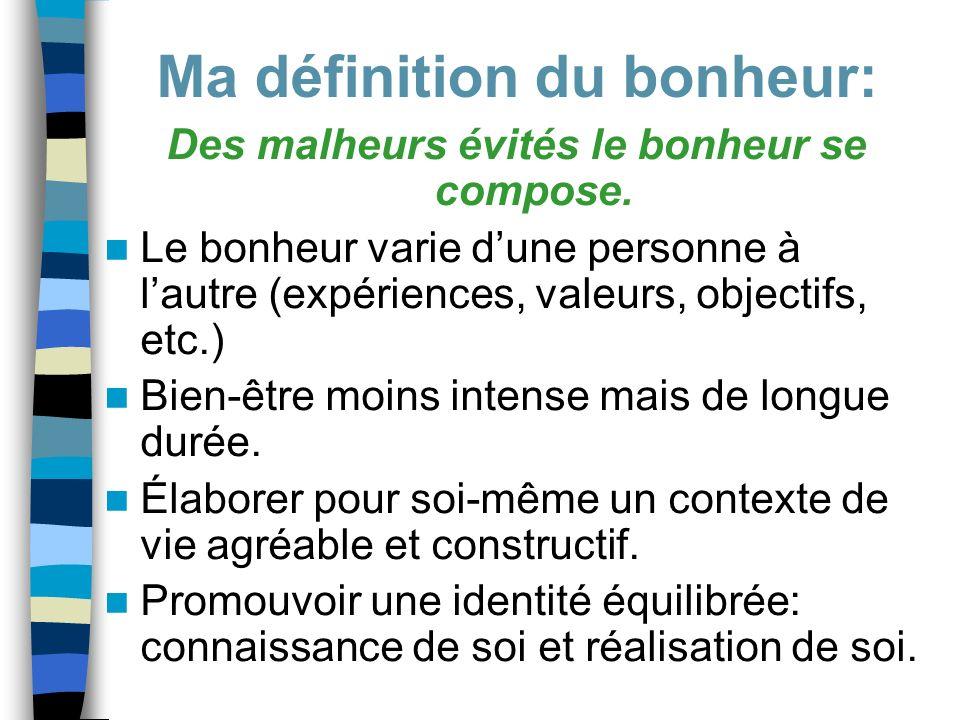 Des malheurs évités le bonheur se compose. Le bonheur varie dune personne à lautre (expériences, valeurs, objectifs, etc.) Bien-être moins intense mai
