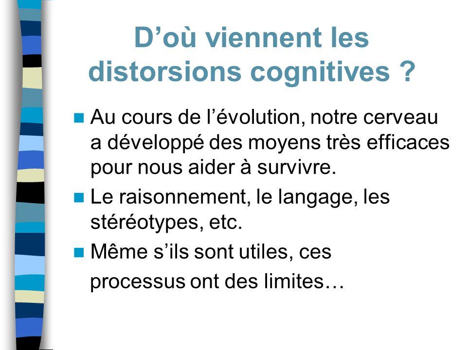 Au cours de lévolution, notre cerveau a développé des moyens très efficaces pour nous aider à survivre. Le raisonnement, le langage, les stéréotypes,