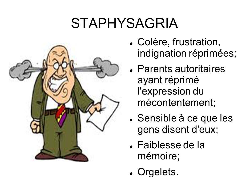 STAPHYSAGRIA Colère, frustration, indignation réprimées; Parents autoritaires ayant réprimé l'expression du mécontentement; Sensible à ce que les gens