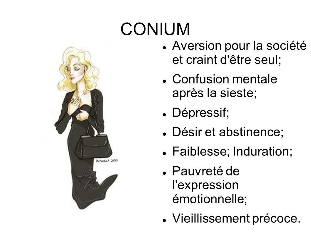 CONIUM Aversion pour la société et craint d'être seul; Confusion mentale après la sieste; Dépressif; Désir et abstinence; Faiblesse; Induration; Pauvr