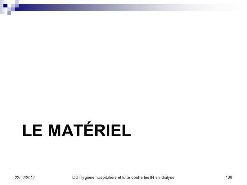 Maîtriser les contaminations DU Hygiène hospitalière et lutte contre les IN en dialyse99 22/02/2012 Des soignés asepsie antisepsie isolement antibiopr