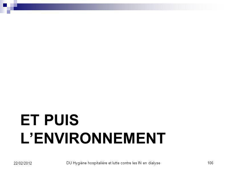 Maîtriser les contaminations DU Hygiène hospitalière et lutte contre les IN en dialyse105 22/02/2012 Des soignants précautions standard Des soignés as
