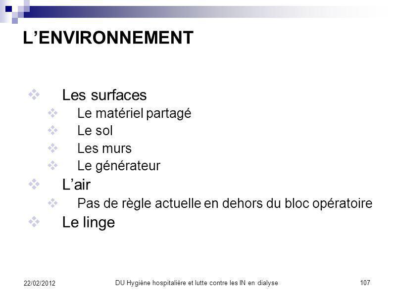 ET PUIS LENVIRONNEMENT 22/02/2012 106DU Hygiène hospitalière et lutte contre les IN en dialyse