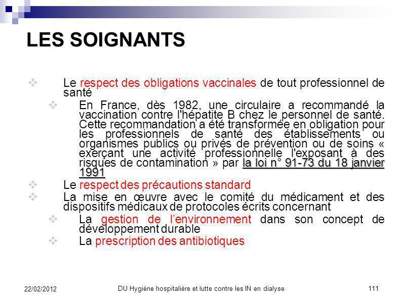 ET ENFIN, NOUS 22/02/2012 110DU Hygiène hospitalière et lutte contre les IN en dialyse
