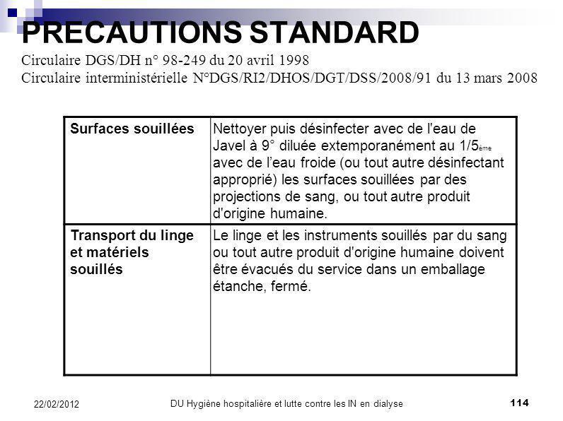 PRECAUTIONS STANDARD Circulaire DGS/DH n° 98-249 du 20 avril 1998 Circulaire interministérielle N°DGS/RI2/DHOS/DGT/DSS/2008/91 du 13 mars 2008 Port de