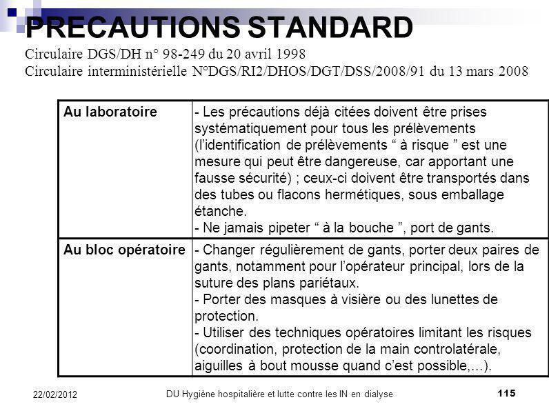 PRECAUTIONS STANDARD Circulaire DGS/DH n° 98-249 du 20 avril 1998 Circulaire interministérielle N°DGS/RI2/DHOS/DGT/DSS/2008/91 du 13 mars 2008 Surface