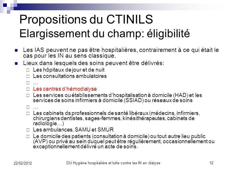 Propositions du CTINILS Elargissement du champ: terminologie Le CTINILS propose que les IAS concernent les patients, malades ou non, des structures da