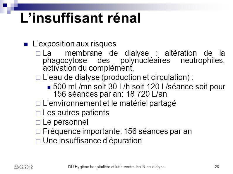 Linsuffisant rénal Facteurs favorisants multiples Les anomalies de limmunité non spécifique (complément, polynucléaires neutrophiles, monocytes, macro