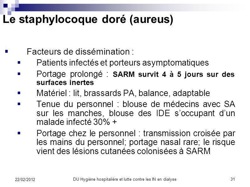 Le staphylocoque doré (aureus) Germe multirésistant = BMR Bactéries multi- résistantes Staphylocoque aureus (doré) résistant à la méthicilline (chef d