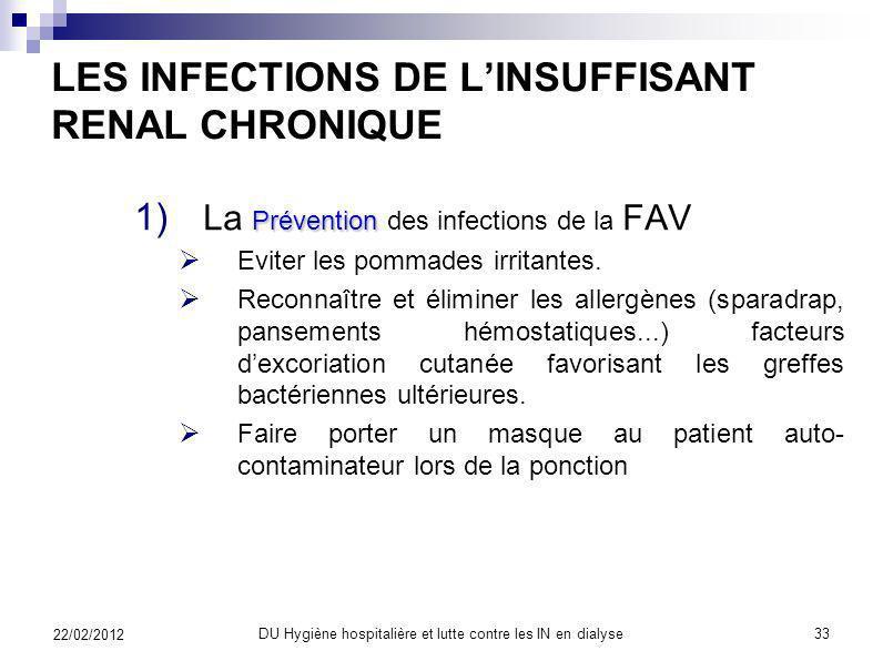 LES INFECTIONS DE LINSUFFISANT RENAL CHRONIQUE 1) Les infections bactériennes 1) Les infections du site daccès vasculaire chez lhémodialysé 2) Prévent
