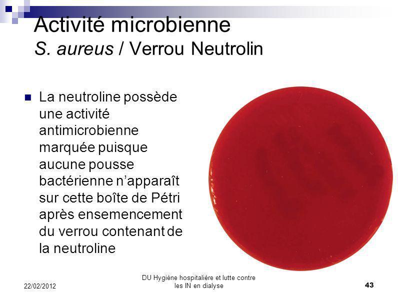 Activité microbienne S. aureus / Verrou Héparine On constate sur cette boîte de Pétri que lhéparine na aucune activité antimicrobienne: les taches jau