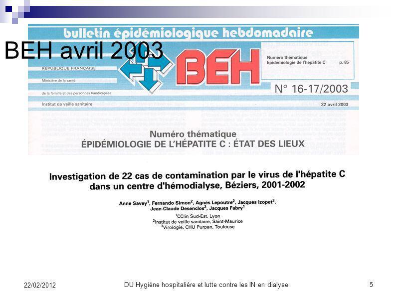 SFHH DU Hygiène hospitalière et lutte contre les IN en dialyse4 22/02/2012
