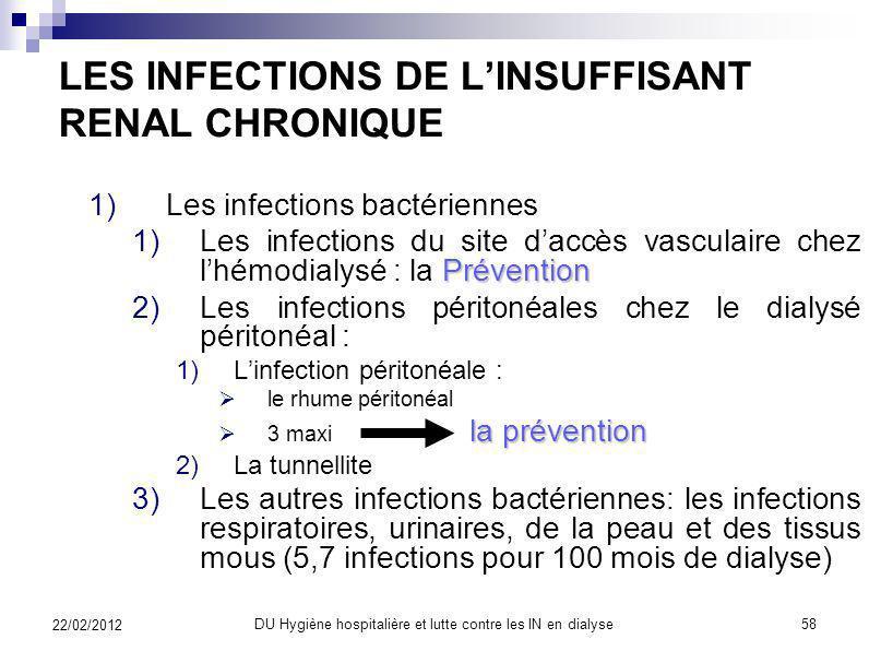 Les 3 années de surveillance 57 22/02/2012 DU Hygiène hospitalière et lutte contre les IN en dialyse