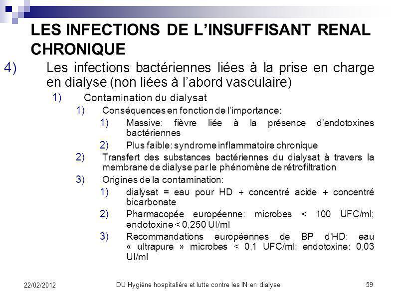 LES INFECTIONS DE LINSUFFISANT RENAL CHRONIQUE 1)Les infections bactériennes Prévention 1)Les infections du site daccès vasculaire chez lhémodialysé :