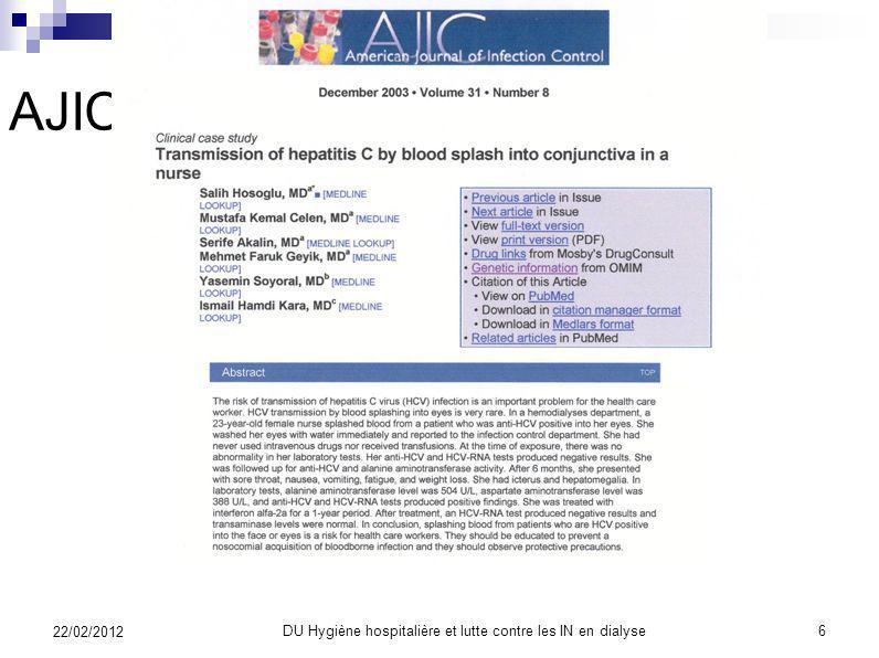 DU Hygiène hospitalière et lutte contre les IN en dialyse5 22/02/2012 BEH avril 2003
