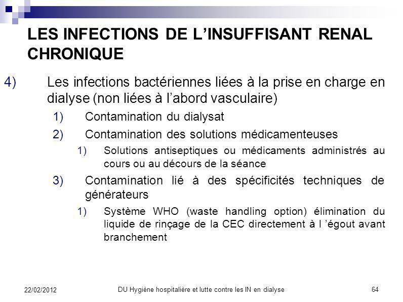 Analyse de leau: résultats 22/02/2012 DU Hygiène hospitalière et lutte contre les IN en dialyse 63