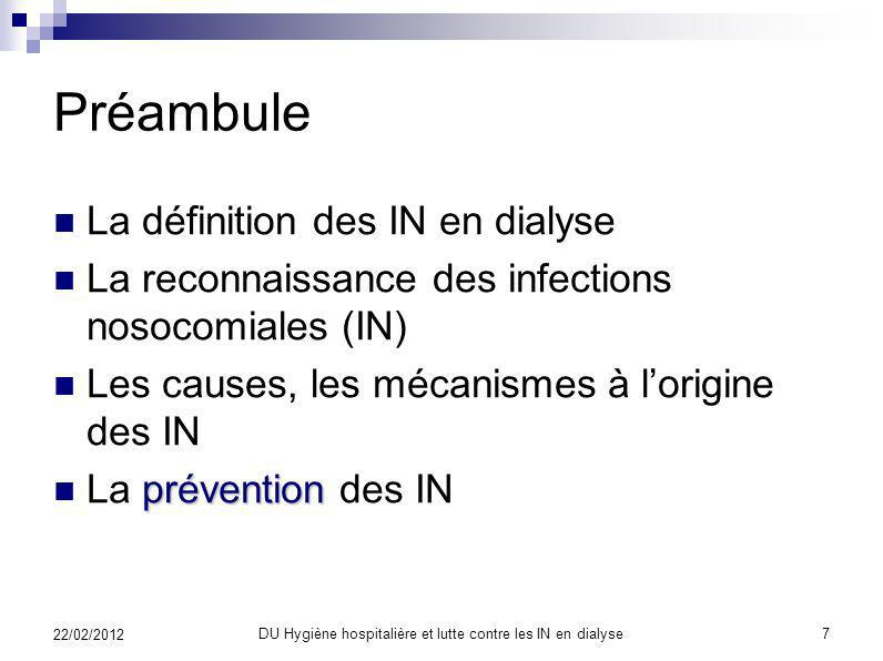 DU Hygiène hospitalière et lutte contre les IN en dialyse6 22/02/2012 AJIC décembre 2003