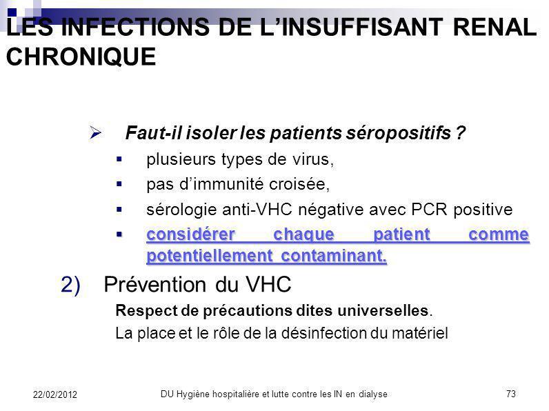 LES INFECTIONS DE LINSUFFISANT RENAL CHRONIQUE Quel est le mode de transmission du virus entre les patients ? les patients entre eux directement et pa