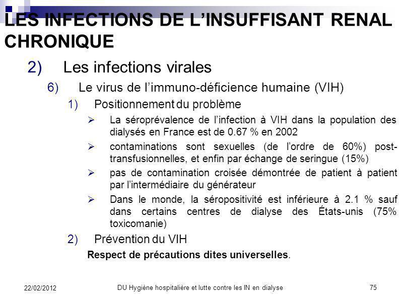 LES INFECTIONS DE LINSUFFISANT RENAL CHRONIQUE 2)Les infections virales 1)Le virus de lhépatite B 2)Le virus de lhépatite C 3)Le virus de lhépatite D