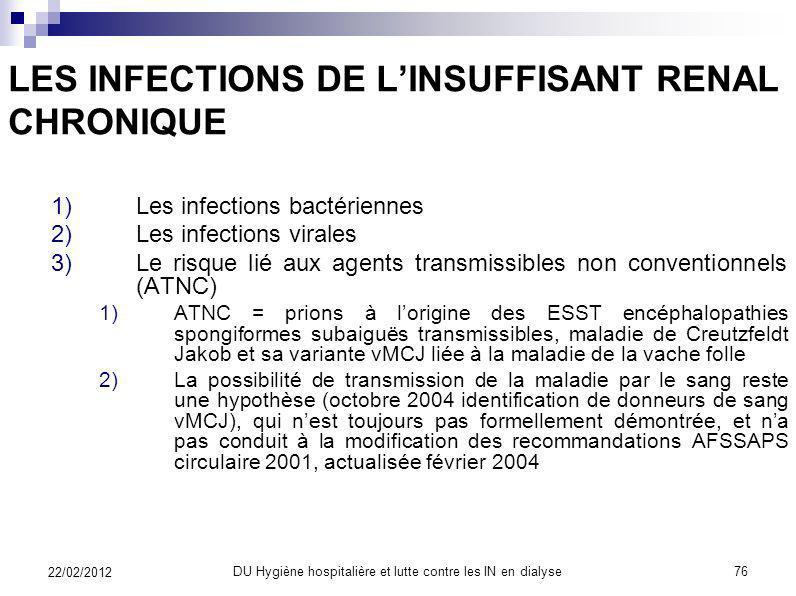 LES INFECTIONS DE LINSUFFISANT RENAL CHRONIQUE 2)Les infections virales 6)Le virus de limmuno-déficience humaine (VIH) 1)Positionnement du problème La