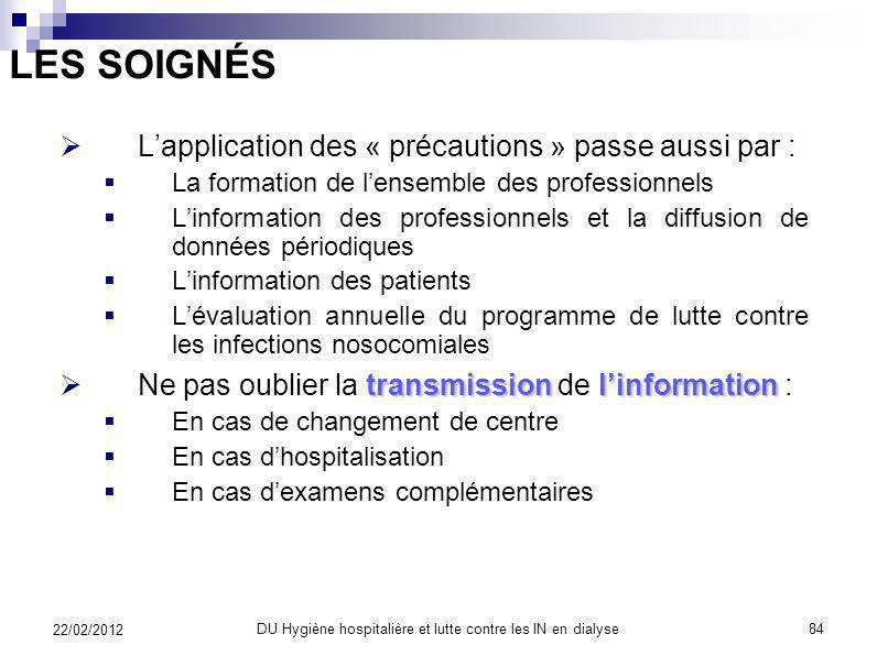 LES SOIGNÉS lorganisation des soins Lapplication des « précautions » passe par lorganisation des soins fondée sur : La connaissance des contraintes im