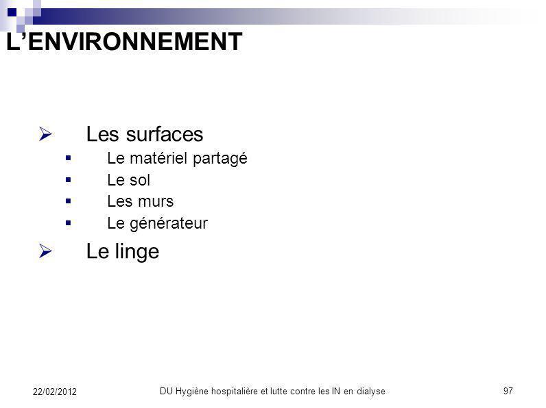 ET PUIS LENVIRONNEMENT 22/02/2012 96DU Hygiène hospitalière et lutte contre les IN en dialyse