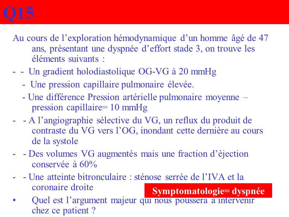 Q15 Au cours de lexploration hémodynamique dun homme âgé de 47 ans, présentant une dyspnée deffort stade 3, on trouve les éléments suivants : - - Un g