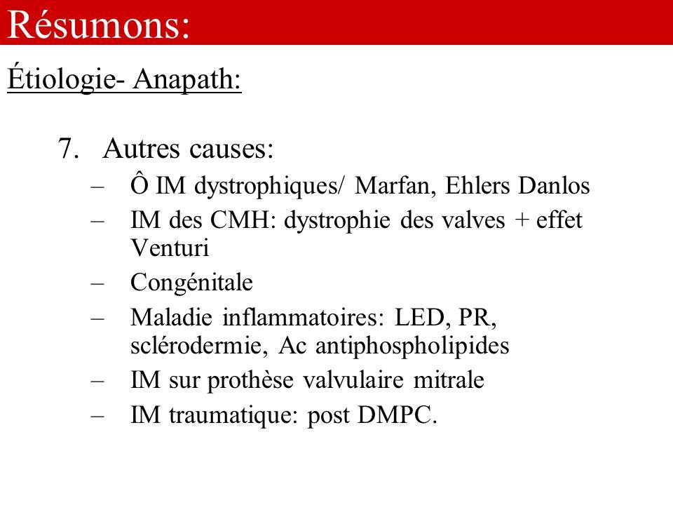 Résumons: 7.Autres causes: –Ô IM dystrophiques/ Marfan, Ehlers Danlos –IM des CMH: dystrophie des valves + effet Venturi –Congénitale –Maladie inflamm
