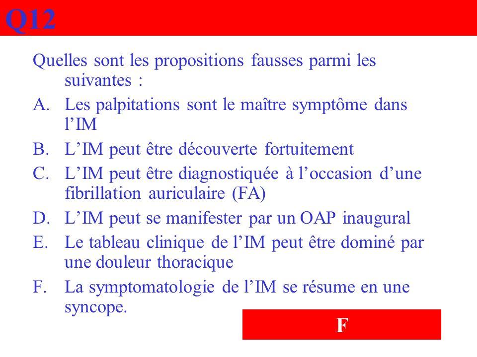 Q12 Quelles sont les propositions fausses parmi les suivantes : A.Les palpitations sont le maître symptôme dans lIM B.LIM peut être découverte fortuit