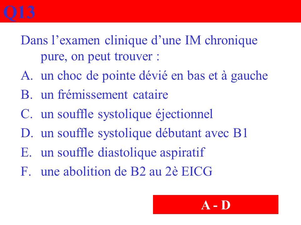 Q13 Dans lexamen clinique dune IM chronique pure, on peut trouver : A.un choc de pointe dévié en bas et à gauche B.un frémissement cataire C.un souffl