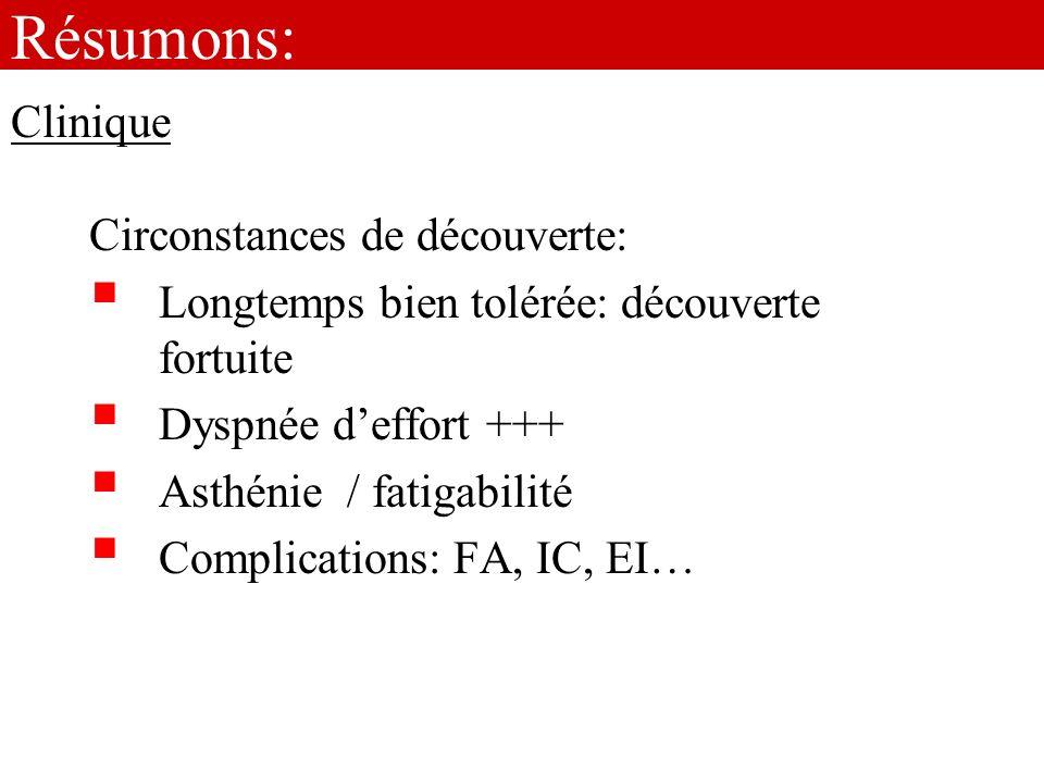 Résumons: Circonstances de découverte: Longtemps bien tolérée: découverte fortuite Dyspnée deffort +++ Asthénie / fatigabilité Complications: FA, IC,