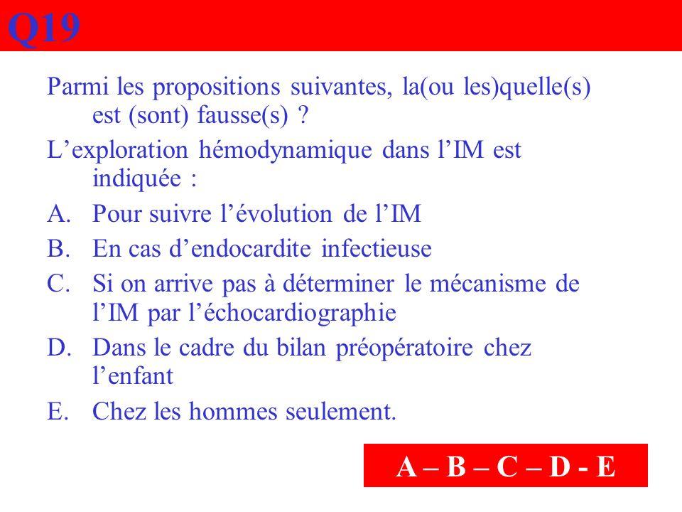 Q19 Parmi les propositions suivantes, la(ou les)quelle(s) est (sont) fausse(s) ? Lexploration hémodynamique dans lIM est indiquée : A.Pour suivre lévo