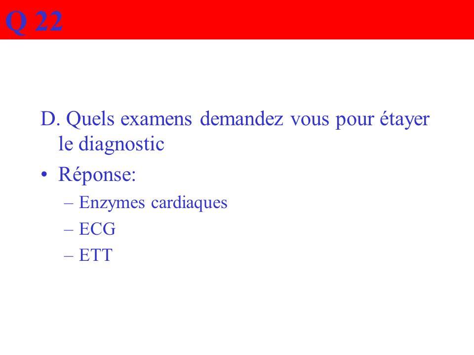 D. Quels examens demandez vous pour étayer le diagnostic Réponse: –Enzymes cardiaques –ECG –ETT Q 22