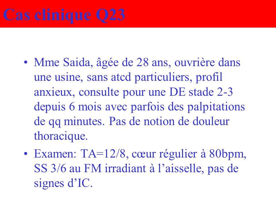 Cas clinique Q23 Mme Saida, âgée de 28 ans, ouvrière dans une usine, sans atcd particuliers, profil anxieux, consulte pour une DE stade 2-3 depuis 6 m