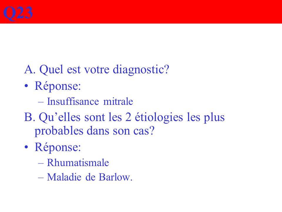 Q23 A. Quel est votre diagnostic? Réponse: –Insuffisance mitrale B. Quelles sont les 2 étiologies les plus probables dans son cas? Réponse: –Rhumatism