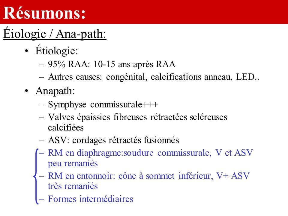 Résumons: Étiologie: –95% RAA: 10-15 ans après RAA –Autres causes: congénital, calcifications anneau, LED.. Anapath: –Symphyse commissurale+++ –Valves