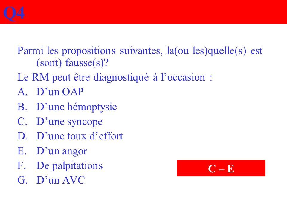Q4 Parmi les propositions suivantes, la(ou les)quelle(s) est (sont) fausse(s)? Le RM peut être diagnostiqué à loccasion : A.Dun OAP B.Dune hémoptysie