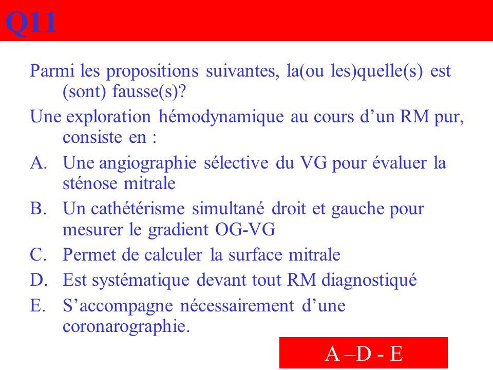 Q11 Parmi les propositions suivantes, la(ou les)quelle(s) est (sont) fausse(s)? Une exploration hémodynamique au cours dun RM pur, consiste en : A.Une