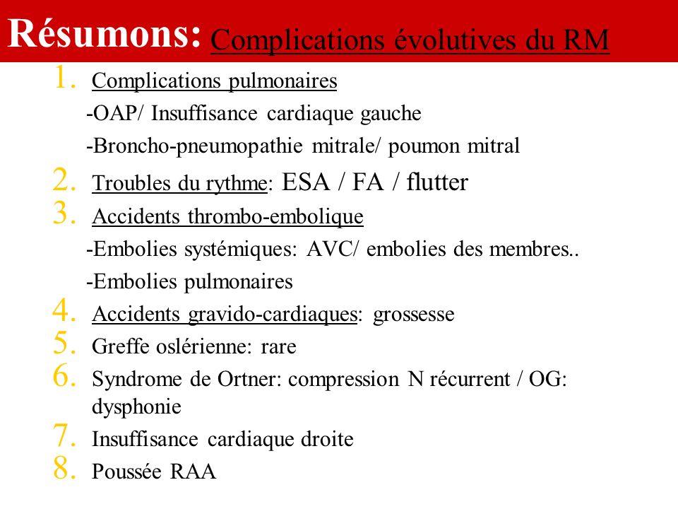 Résumons: 1. Complications pulmonaires -OAP/ Insuffisance cardiaque gauche -Broncho-pneumopathie mitrale/ poumon mitral 2. Troubles du rythme: ESA / F