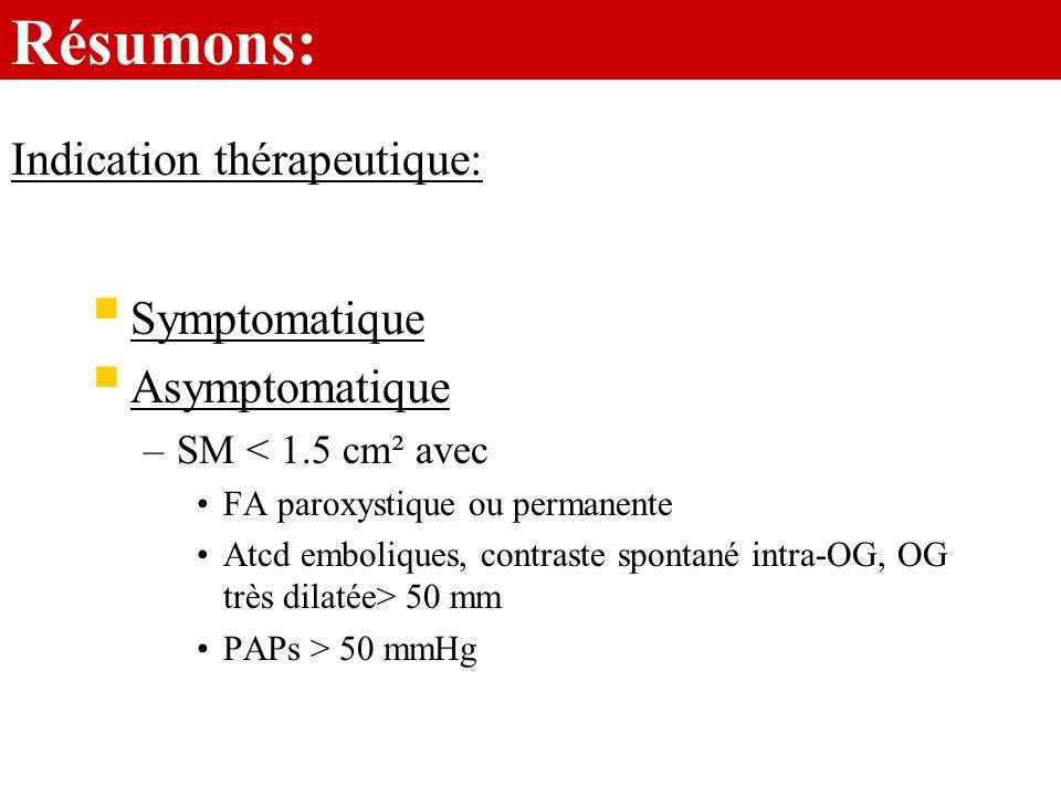 Résumons: Symptomatique Asymptomatique –SM < 1.5 cm² avec FA paroxystique ou permanente Atcd emboliques, contraste spontané intra-OG, OG très dilatée>