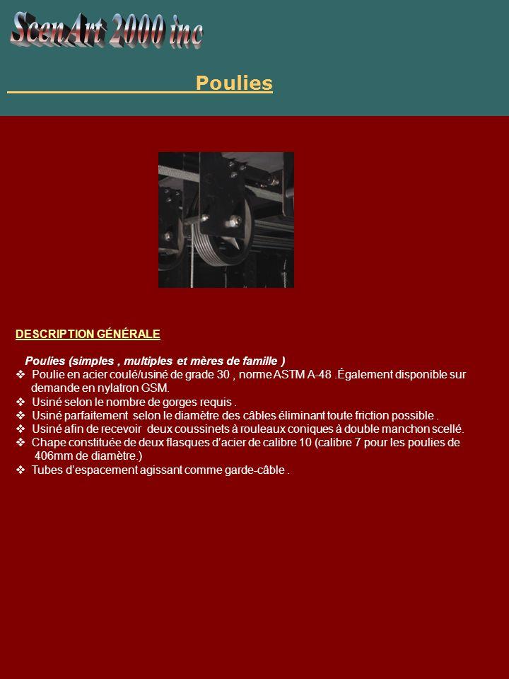 Poulie disponible dun diamètre de 219mm, 310 mm ou de 406 mm selon la capacité demandée.